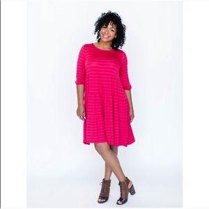 Plus // A&D Ruffle Krafft Dress Pink Stripe